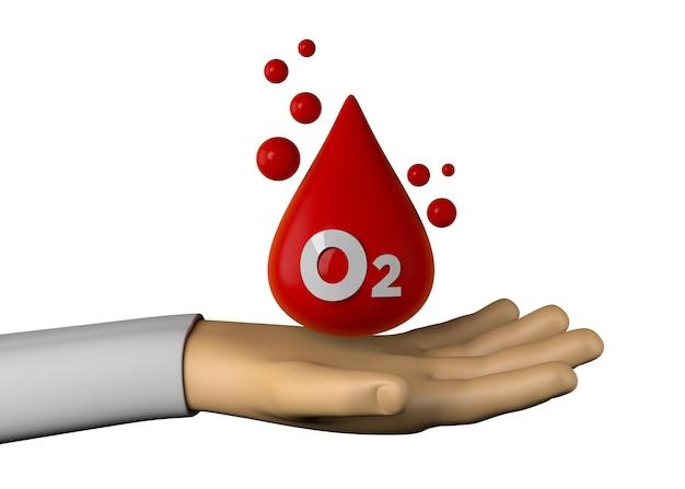 Ręka z ikoną nasycenia krwi tlenem. ilustracja 3d.