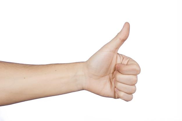 Ręka z kciukami do góry jako podobny znak. na białym tle