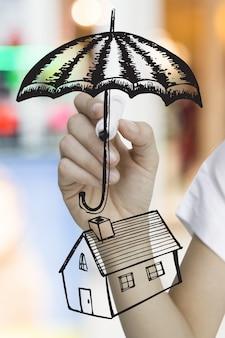 Ręka z parasolem