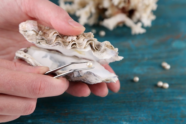 Ręka z pęsetą trzymająca perłę i ostrygę na drewnianym tle