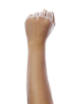 Ręka z zaciśniętą pięścią, odizolowane na białym