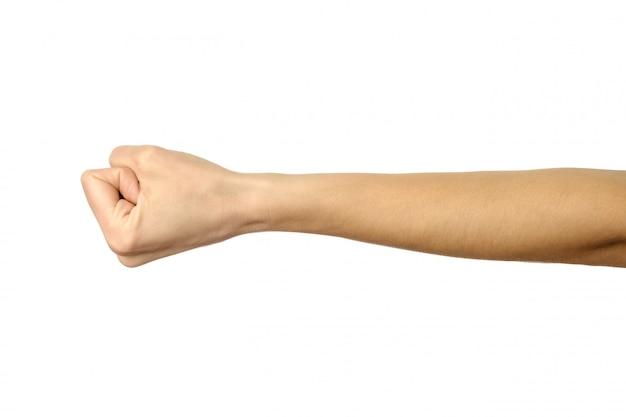 Ręka zaciśnięta w pięść. kobiety ręki gestykulować odizolowywam na bielu