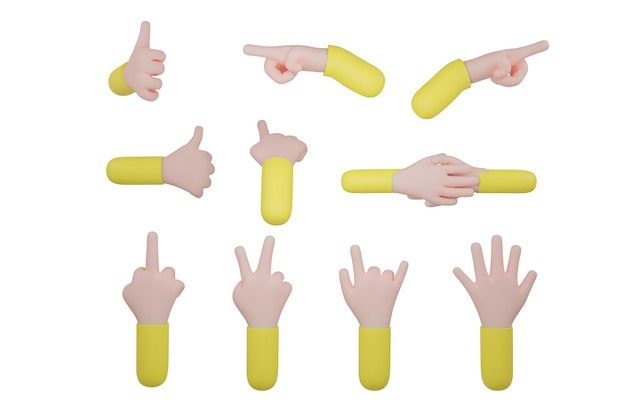 Ręka znak na białym tle ze ścieżką przycinającą. ilustracja 3d