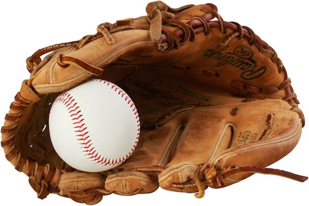 Rękawica baseballowa z piłką - na białym tle obraz