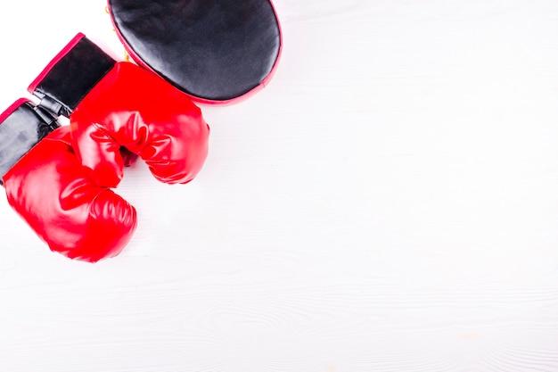 Rękawice bokserskie i łapa