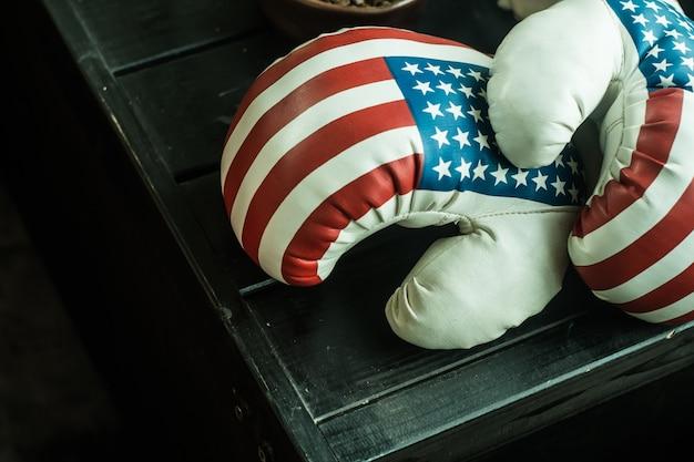 Rękawice bokserskie z flagą usa