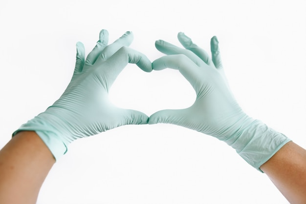 Rękawice medyczne w kształcie serca