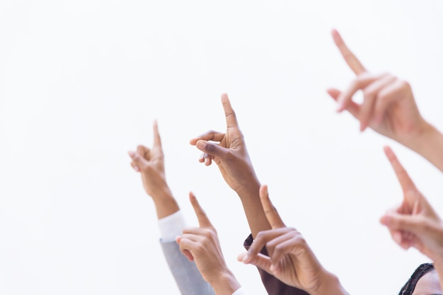 Ręki biznesmeni wskazuje palce wskazujących up