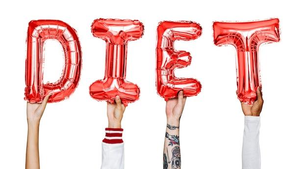 Ręki pokazuje dieta balonów słowo