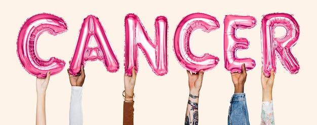 Ręki pokazuje nowotwór balonów słowo