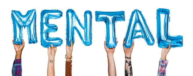 Ręki pokazuje umysłowego balonu słowo