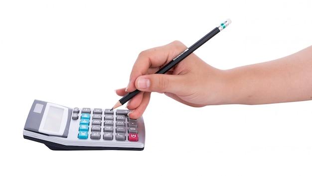 Ręki z kalkulatorem odizolowywającym