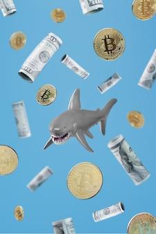 Rekin pływa wokół złotych bitcoinów i dolarów na niebieskim tle. konceptualny metaforyczny obraz niebezpiecznych rekinów biznesu