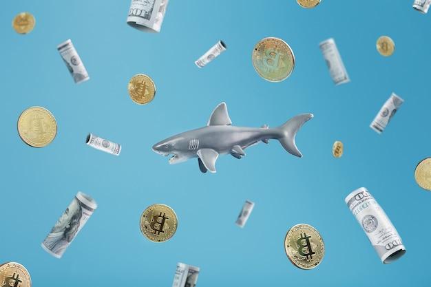Rekin pływa wokół złotych bitcoinów i dolarów na niebieskim tle