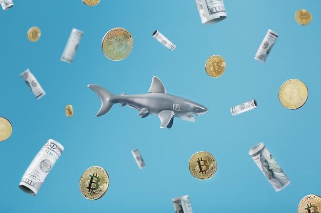 Rekin zębaty poluje na pieniądze wokół dolarów i bitcoinów na niebieskim tle. konceptualny metaforyczny obraz niebezpiecznych rekinów biznesu
