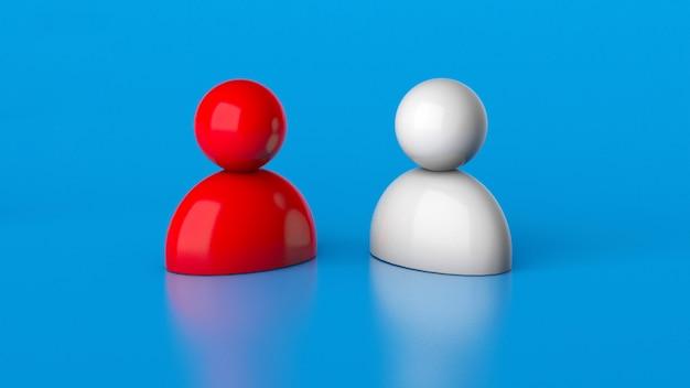 Rekrutacja kadry. wybierz pracownika. dwóch kandydatów na stanowisko. hr. renderowania 3d.