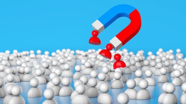 Rekrutacja personelu magnes przyciąga dobrych czerwonych liderów z tłumu hr 3d render