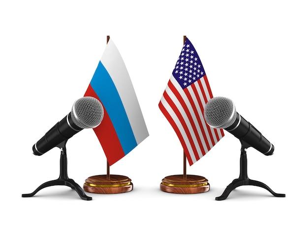 Relacje między ameryką a rosją na białym tle. izolowana ilustracja 3d
