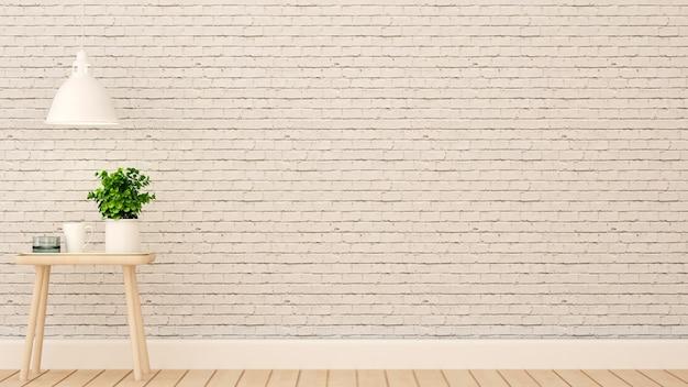 Relaks w domu lub mieszkaniu na białej ścianie z cegły