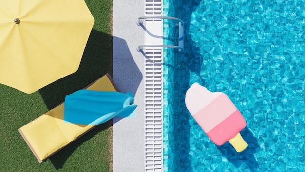 Relaksujące krzesło na tle letniego basenu