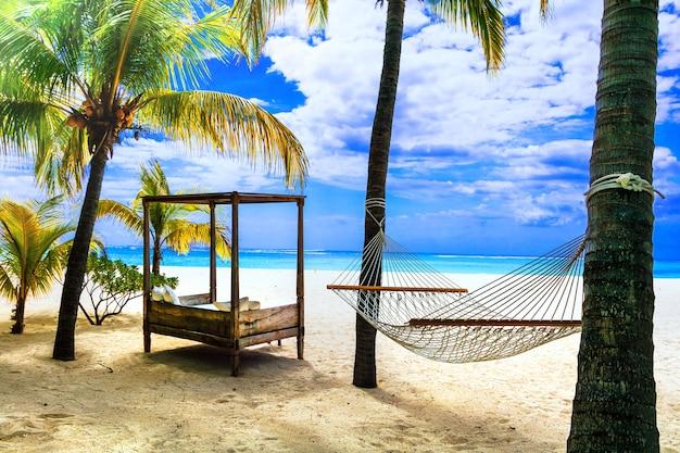 Relaksujące tropikalne wakacje z hamakiem pod palmą. wyspa mauritius