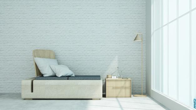 Relax loft przestrzeń dekoracyjne ściany betonowe w kondominium - renderowanie 3d