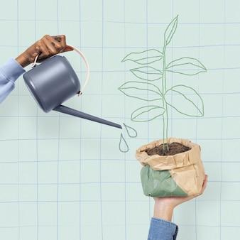 Remiks ilustracji hobby ogrodnictwa roślin doniczkowych