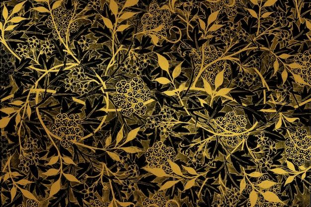 Remiks vintage złoty kwiatowy wzór z dziełem williama morrisa