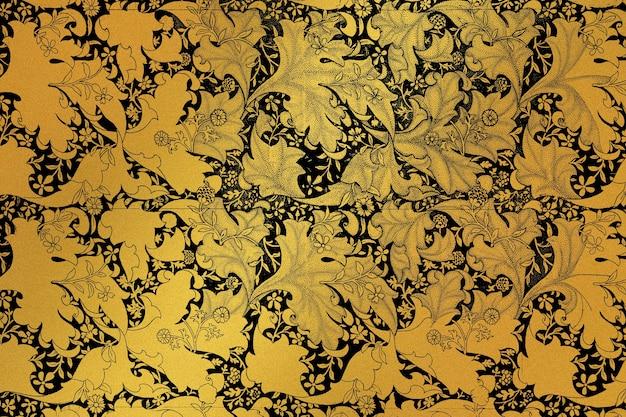 Remiks złoty kwiatowy wzór z grafiki autorstwa williama morrisa