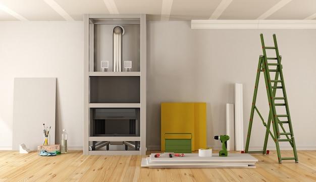 Remont domu z kominkiem pokrytym płytą gk. renderowanie 3d