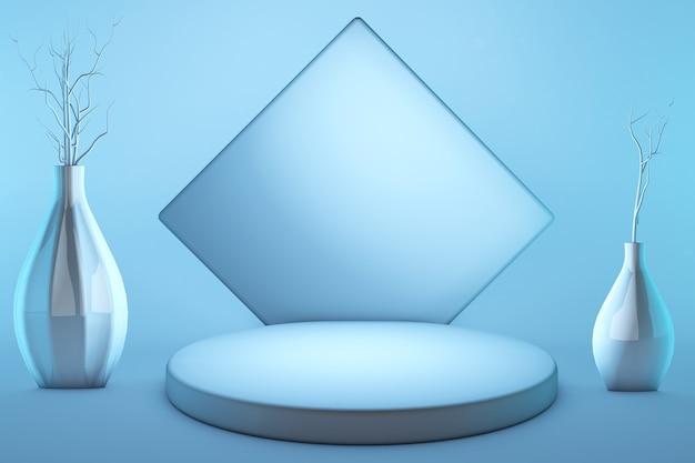 Render 3d, abstrakcyjne kształty geometryczne, podium cylindryczne, nowoczesny minimalistyczny, szablon, wazony z suchymi kwiatami, gablota, ekspozycja sklepowa, miętowo-niebieskie różowe pastelowe kolory