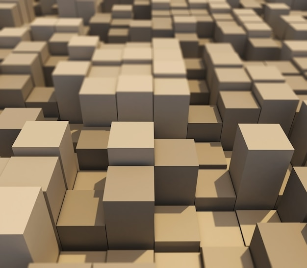 Render 3d abstrakcyjnego krajobrazu z wytłaczanych sześcianów z płytką głębią ostrości