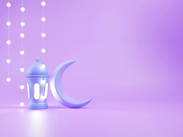 Render 3d arabskiej latarni i półksiężyca na podium z miejscem na kopię