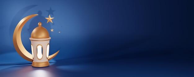 Render 3d arabskiej latarni i złotego półksiężyca z miejscem na kopię