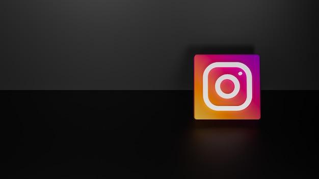 Render 3d błyszczącego logo instagram na czarnym ciemnym tle