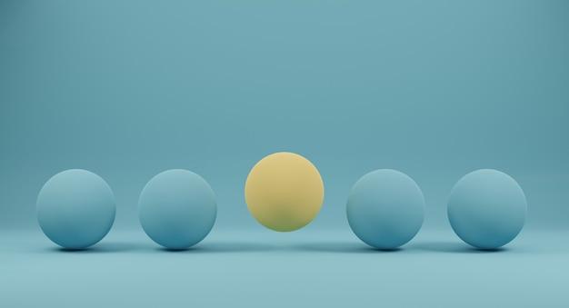 Render 3d czterech niebieskich sfer i żółtej pośrodku na niebieskim tle