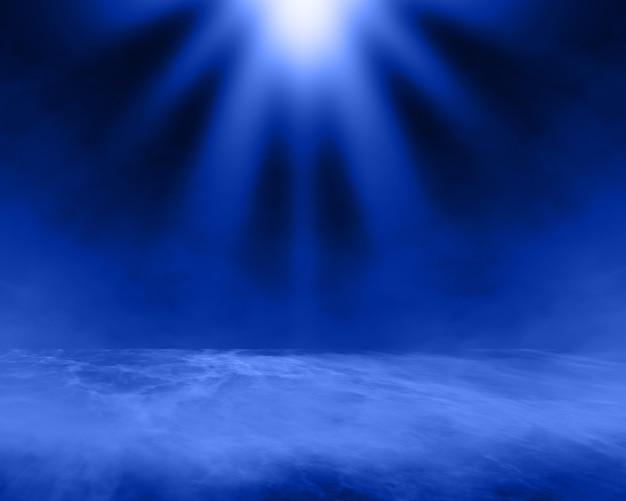 Render 3d mglistego wnętrza pokoju ze świecącym światłem reflektorów