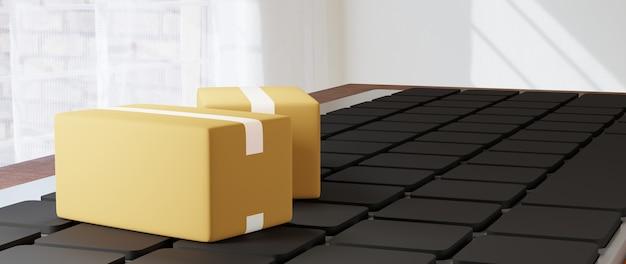 Render 3d paczki na klawiaturze. biznes online mobilny i e-commerce.