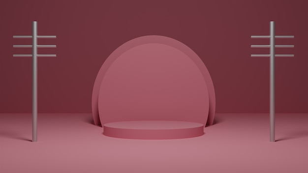 Render 3d platformy pastel pink ze srebrnymi metalowymi słupkami