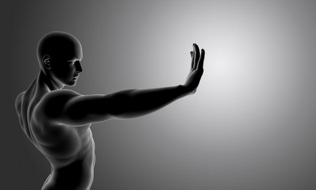 Render 3d przedstawiający męską postać trzymającą rękę z przodu i zatrzymującą coś pustą przestrzenią
