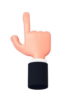 Render 3d, rysunkowa ręka z rękawem wskazuje palcem w górę lub klika na coś