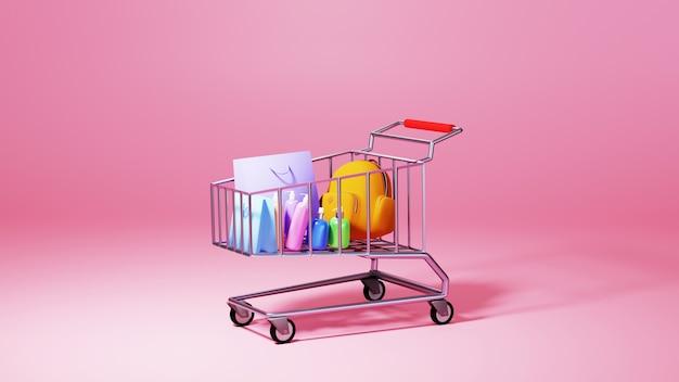 Render 3d towarów i wózka. biznes online mobilny i e-commerce.