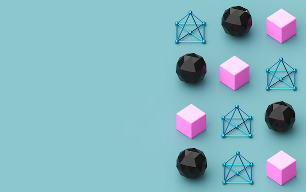Render 3d, trójkątne kształty geometryczne, piramida, konstrukcje metalowe, kolorowe trójkątne tła