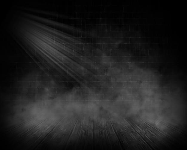 Render 3d wnętrza grunge z dymem i reflektorem