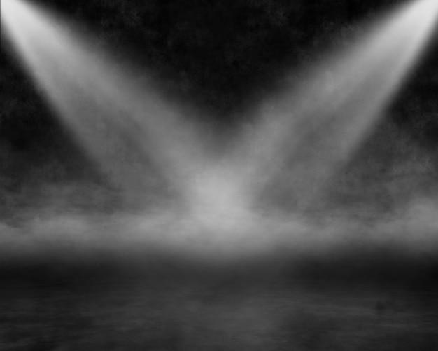 Render 3d wnętrza grunge z reflektorami świecącymi w mglistej atmosferze