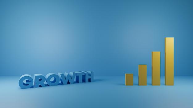 Render 3d wzrostu danych z wykresem słupkowym