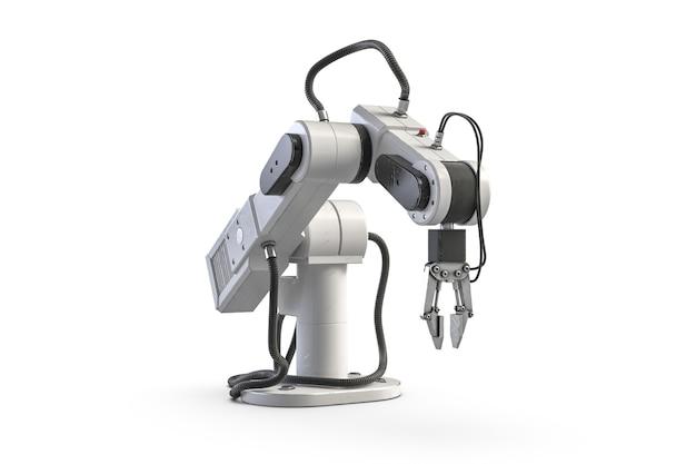 Render małego ramienia robota na białym tle