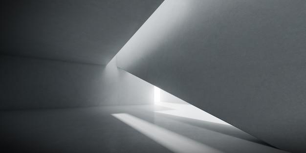 Render pustego pokoju betonowego z cieniem na ścianie.