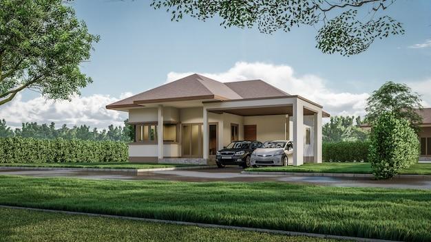 Rendering 3d architektoniczny dom otoczony roślinnością ilustracja