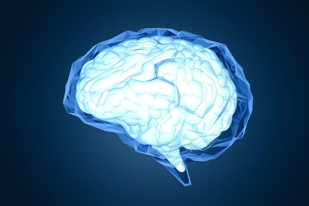 Rendering 3d błyszczący niebieski wielokątny mózg na ciemnoniebieskim tle